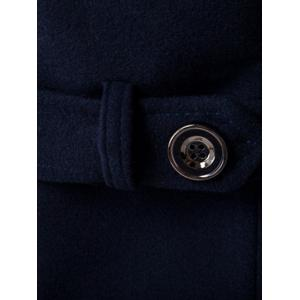 Plus Size Hooded Fleece Single-Breasted Woolen Coat - CADETBLUE M