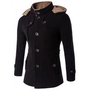 Plus Size Hooded Fleece Single-Breasted Woolen Coat - Black - M