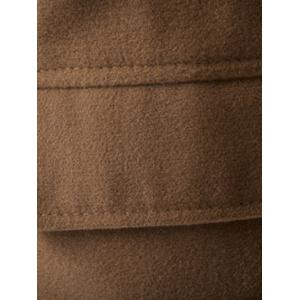 Plus Size Stand Collar Epaulet Single-Breasted Woolen Coat - CAMEL 5XL