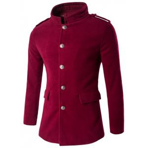 Plus Size Stand Collar Epaulet Single-Breasted Woolen Coat - Wine Red - Xl