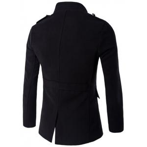 Plus Size Stand Collar Epaulet Single-Breasted Woolen Coat - BLACK 5XL