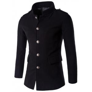 Plus Size Stand Collar Epaulet Single-Breasted Woolen Coat - Black - M