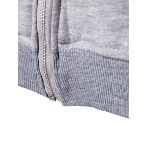Plus Size Zip Up Selvedge Embellished Hooded Coat - GRAY 5XL