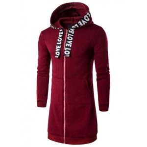 Plus Size Zip Up Selvedge Embellished Hooded Coat - Wine Red - 2xl