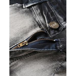 Zipper Fly Low-Slung Crotch Bleach Wash Spliced Jeans - BLACK GREY 34