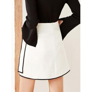Contrast-Trim Tied-Up Surplice Mini Skirt -