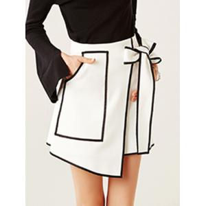 Contrast-Trim Tied-Up Surplice Mini Skirt