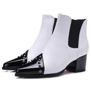Pointed Toe Rivet Chunky Heel Ankle Boots - WHITE 39