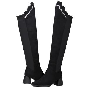 Pointed Toe Splicing Chunky Heel Boots - BLACK 39