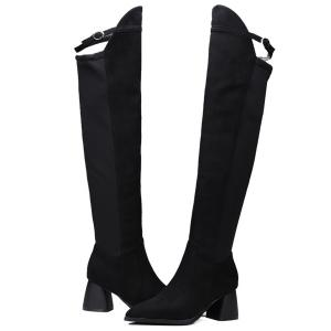 Buckle Strap Pointed Toe Knee-High Boots -