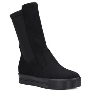 Slip-On Suede Platform Mid-Calf Boots