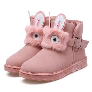 Buckle Strap Furry Rabbit Snow Boots -