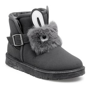 Buckle Strap Furry Rabbit Snow Boots - Gray - 37