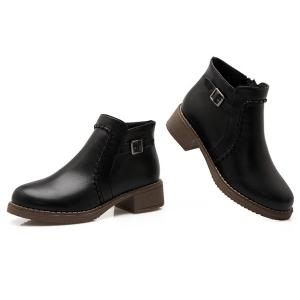 Buckle Strap Low Heel Ankle Boots -