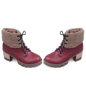 Lace-Up Fuzzy Chunky Heel Short Boots -