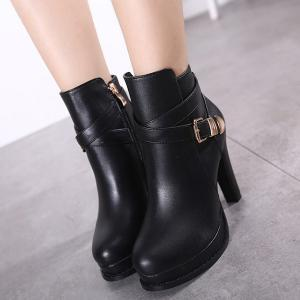 Chunky Heel Platform Buckle Strap Ankle Boots -