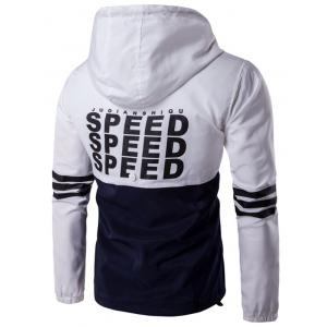 Hooded Drawstring Design Demi-Zip Varsity Stripe Jacket -