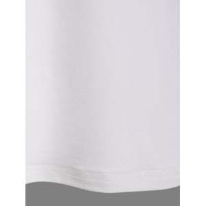 Striped Patched Raglan Sleeve T-Shirt - CRYSTAL CREAM XL