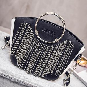 Letter Embossed Metal Ring Fringe Handbag -