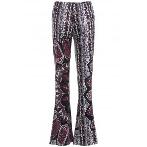 Flare Bell Bottom Printed Trousers - BLACK/PURPLE XL