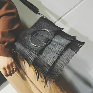 Metal Ring PU Leather Multi Fringe Handbag - BLACK