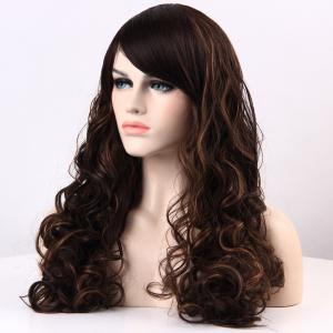 Long Highlight Shaggy Curly Side Bang Synthetic Wig -