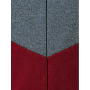 Color Block Spliced Hoodie - GRAY AND RED XL