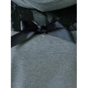 Lace Patchwork Bowknot Embellished Sweatshirt - BLACK AND GREY XL