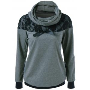 Lace Patchwork Bowknot Embellished Sweatshirt - Black And Grey - M