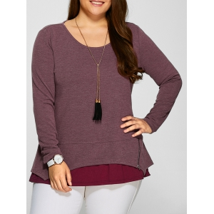 Plus Size Zipper Embellished Layered Pullover - Russet-red - 5xl