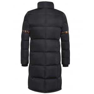 Stand Collar Lengthen Thicken Graphic Print Cotton-Padded Coat - BLACK 3XL