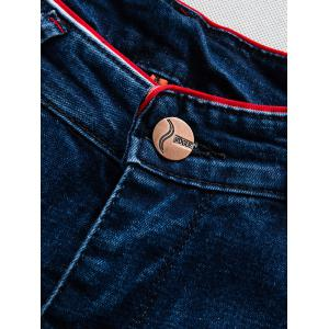 Flèche Motif Patch Zip Fly Jeans - Bleu 33