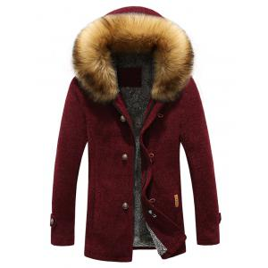Patch Design Zip-Up Fur Hooded Jacket - Wine Red - L