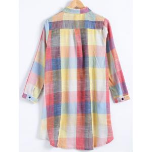 Plus Size Checked Long Sleeve Shirt Dress -