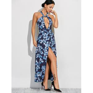 Twist Neck Evening Cut Out Halter Maxi Dress - BLUE L