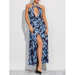 Twist Neck Evening Cut Out Maxi Dress - Blue - M