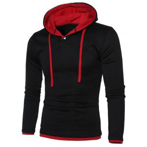 Hooded Color Splicing Long Sleeve Hoodie - RED WITH BLACK M