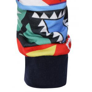 Colorful Geometric Print Pocket Embellished String Hoodie -