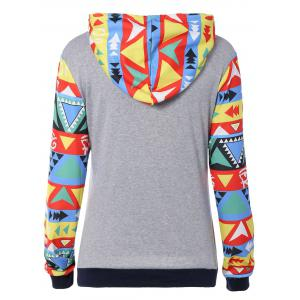 Colorful Geometric Print Pocket Embellished String Hoodie - COLORMIX L