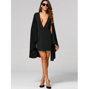 Plunge Neck Cape Dress -