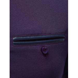 Embroidered Cuff Breast Pocket Button Up Shirt - PURPLE XL