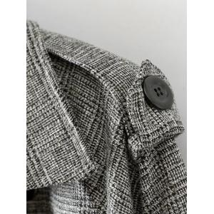 Belted Double-Breasted Houndstooth Walker Coat -