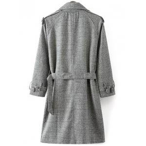 Belted Double-Breasted Houndstooth Walker Coat - WHITE/BLACK 2XL