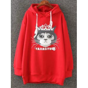 Cartoon Cat Print Fleece Plus Size Hoodie
