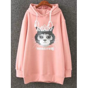 Cartoon Cat Print Fleece Plus Size Pink Hoodie