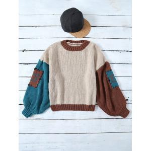 Slash Neck Color Block Patched Sweater