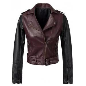 Color Block PU Leather Biker Jacket - Wine Red - S