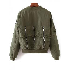 Rhinestoned Patched Zip-Up Jacket - ARMY GREEN L