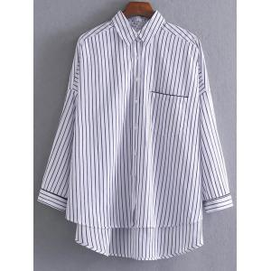High-Low Loose Striped Shirt