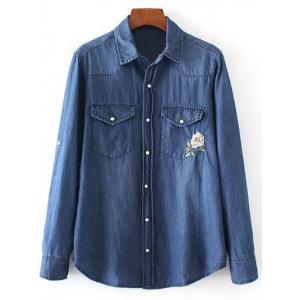 Floral Embroidered and Denim Pocket Cowboy Shirt - Blue - M